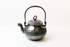 Silver Tea Kettle with Animal-Shaped Spout and Ground Pattern【纯银地纹凤凰口】