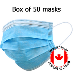 Face Mask, ASTM Level 3, 4-Ply  - Made in CANADA / Box of 50pcs Masks by Modern Air Filter Corporation- Unique Dental Supply Inc.