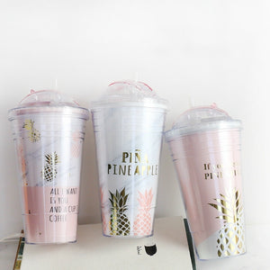 Creative Coffee Mugs Free Plastic Water Bottle Pink Pineapple Pattern Straw Travel Portable Tea Milk Cup Drinkware 420ML CL11151