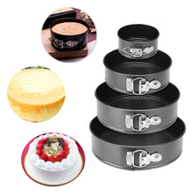 Load image into Gallery viewer, Black Carbon Steel Cakes Molds Non-Stick Metal Bake Mould Round Cake Baking Pan Removable Bottom Bakeware Cake Supplies