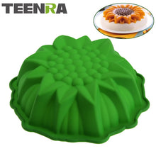 Load image into Gallery viewer, TEENRA 1Pcs Sunflower Silicone Baking Pan Pizza Pan Baking Form Round Silicone Pan Cake Baking Tray Silicone Mold Bakeware