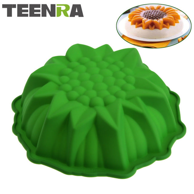TEENRA 1Pcs Sunflower Silicone Baking Pan Pizza Pan Baking Form Round Silicone Pan Cake Baking Tray Silicone Mold Bakeware