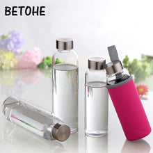 Load image into Gallery viewer, Glass Water Bottle with protective bag Travel Drinkware Portable Bottle Transparent Bottle for Water Tea Glass Sport Bottle