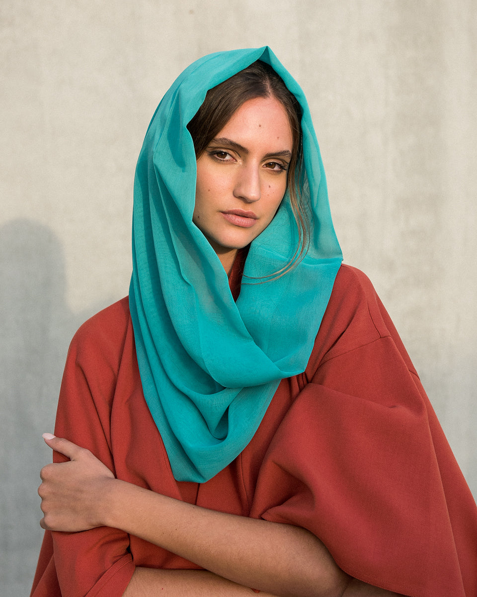 Voile Snood In Sea Green
