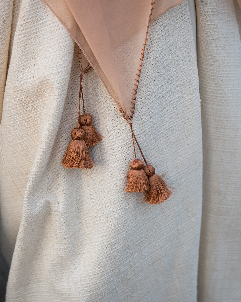 Brown Silk Tassel - Apricot Scarf
