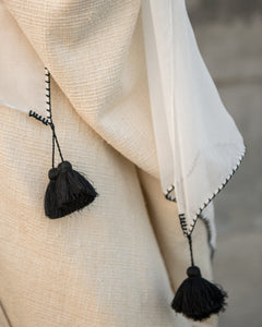 Black Cotton Tassel - Afterglow Scarf