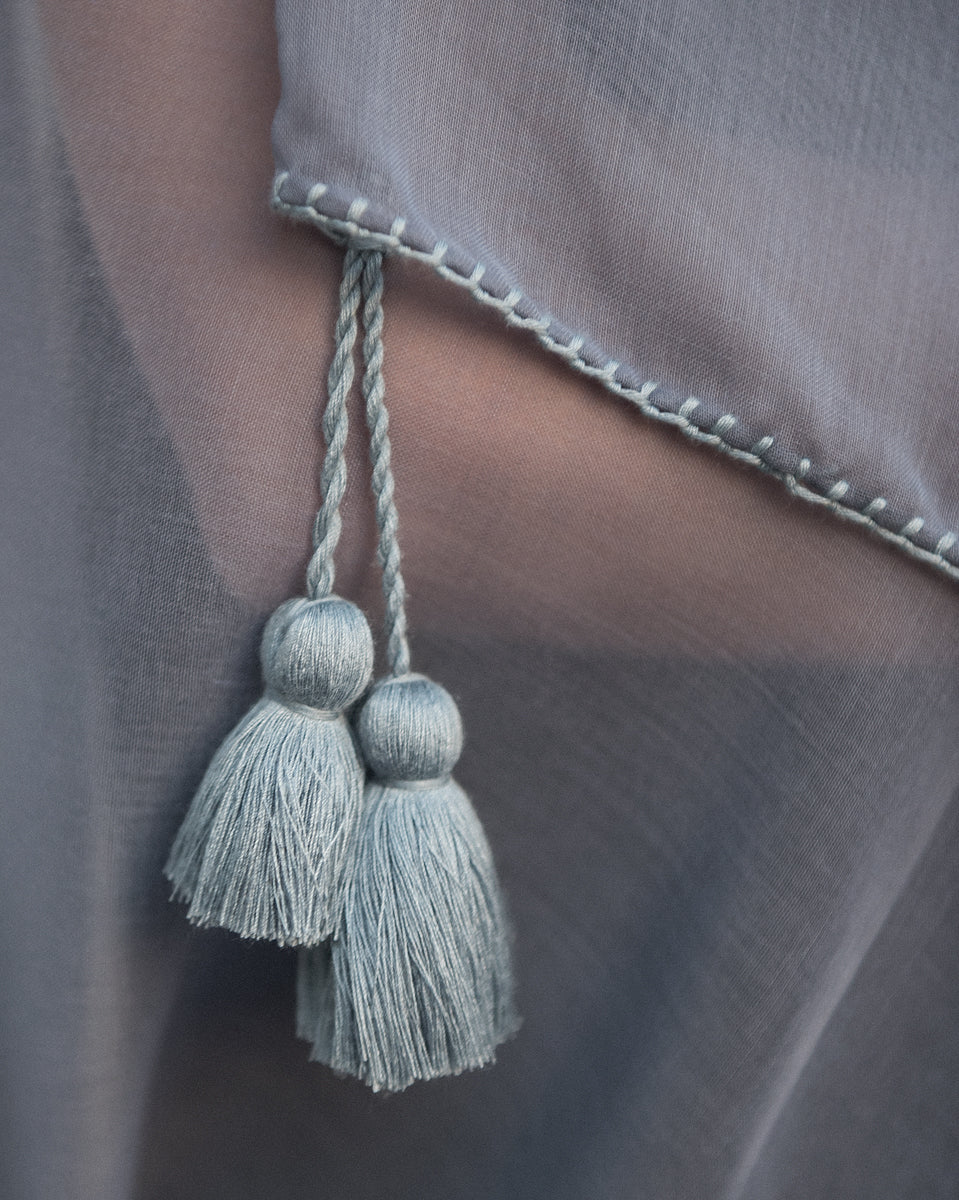 Dull Blue Cotton Tassel - Grisaille Scarf