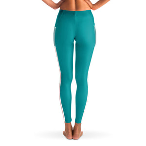 Basic Blue Green Yoga Pants with Mesh