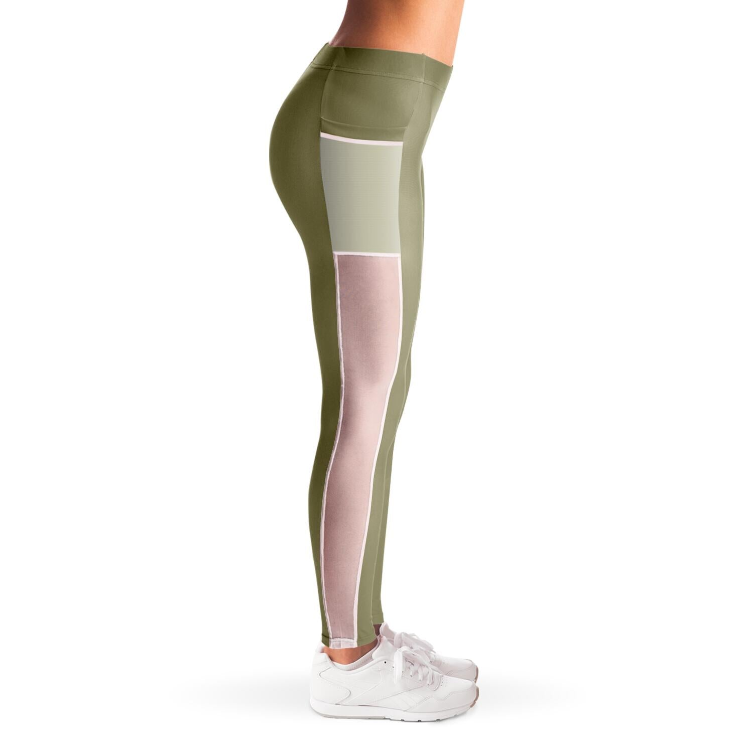 Basic Moss green yoga pants with mesh