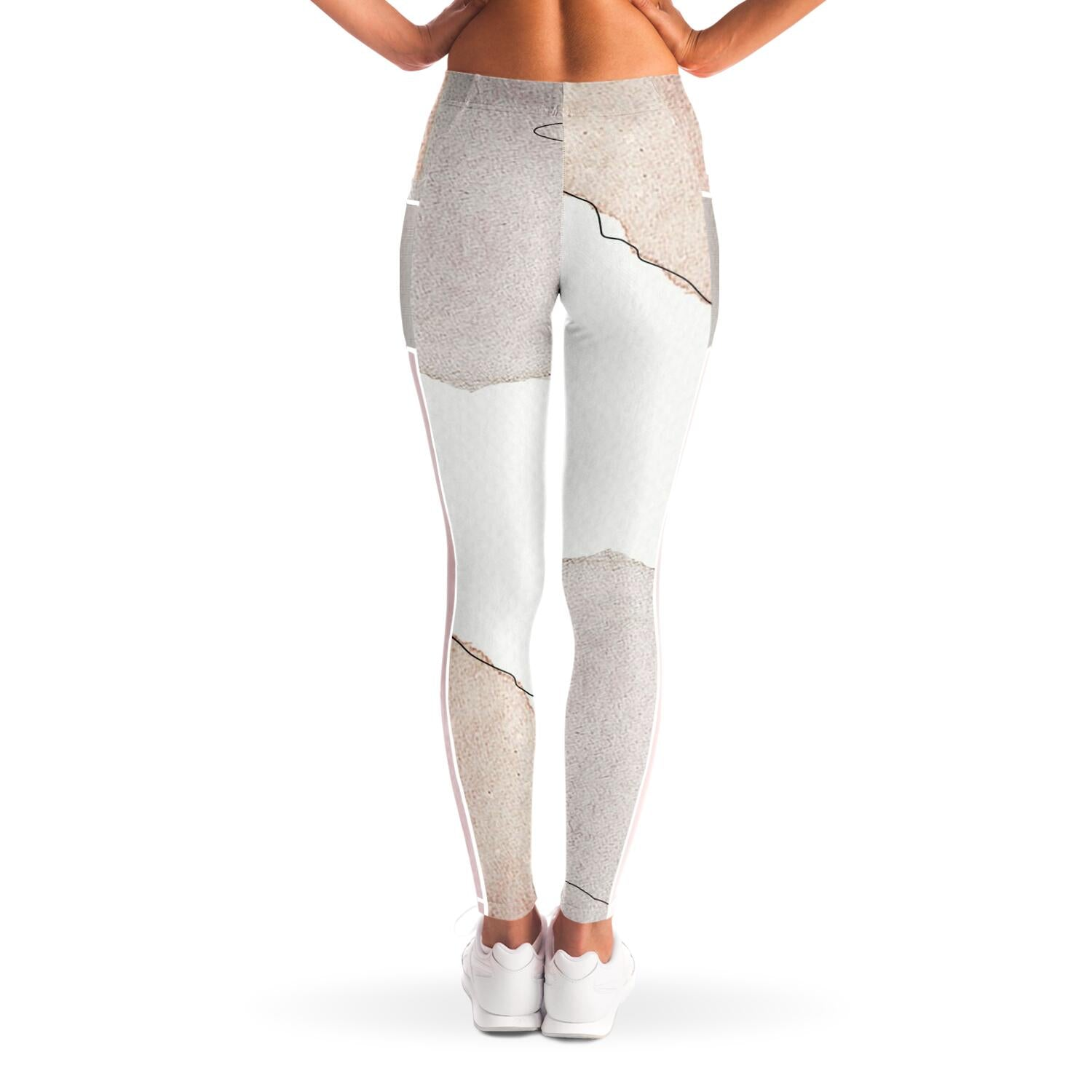 Abstract Art Yoga pants with mesh