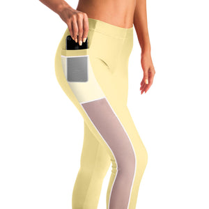 Basic Yellow Yoga Pants with Mesh