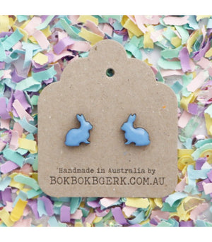 Bok Bok B'Gerk Earrings - Rabbits Bluey