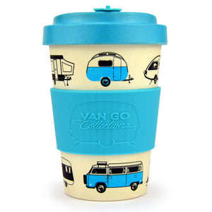 Van Go Bamboo Travel Mug | 400ml | 'Hippy Days' Pale Blue