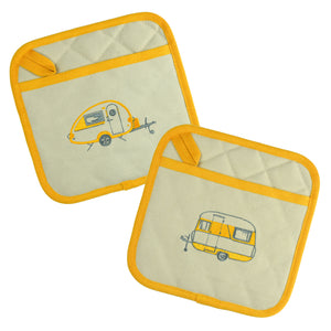 Van Go Embroidered Pot Holders | Various Caravan Themed Designs & Colours