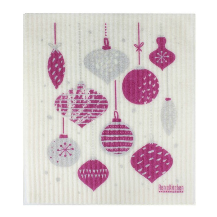 Retro Kitchen Biodegradable Dish Cloth | Christmas Baubles