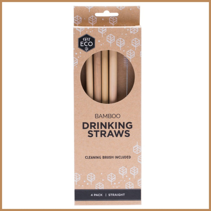Ever Eco | Bamboo Straws | 4 Pack + Cleaning Brush