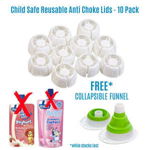 Child Safe Reusable Anti Choke Lids 10 Pack with FREE Funnel