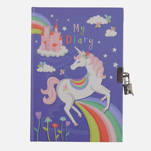 Tiger Tribe Lockable Diary - Unicorn Rainbows