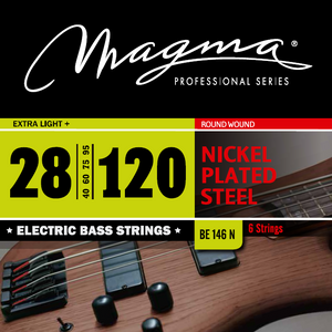 "Magma Electric Bass Strings Extra Light - Nickel Plated Steel Round Wound - Long Scale 34"" 6 Strings Set, .028 - .120 (BE146N)"