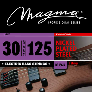 "Magma Electric Bass Strings Light - Nickel Plated Steel Round Wound - Long Scale 34"" 6 Strings Set, .030 - .125 (BE155N)"