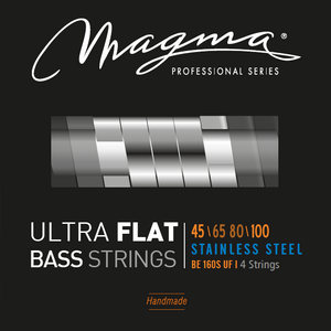 "Magma Electric Bass Strings Medium Light- Steel Ultra Flat Strings - Long Scale 34"" 4 Strings Set, .045 - .100 (BE160SUF)"