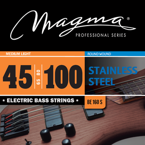 "Magma Electric Bass Strings Medium Light - Stainless Steel Round Wound - Long Scale 34"" Set, .045 - .100 (BE160S)"