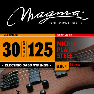 "Magma Electric Bass Strings Medium Light - Nickel Plated Steel Round Wound - Long Scale 34"" 6 Strings Set, .030 - .125 (BE166N)"