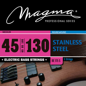 "Magma Electric Bass Strings Medium - Steel Round Wound - Long Scale 34"" 5 Strings Set, .045 - .130 (BE175S)"