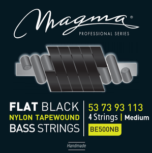 "Magma Electric Bass Strings Medium - Flat Black Nylon Tapewound Strings - Long Scale 34"" 4 Strings Set, .053 - .113 (BE500NB)"