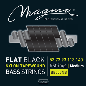"Magma Electric Bass Strings Medium - Flat Black Nylon Tapewound Strings - Long Scale 34"" 5 Strings Set, .053 - .130 (BE505NB)"
