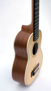 Magma Soprano Ukulele 21 inch Professional FIR AND SAPELI WOOD LINE with filete, strap pins installed and bag (MKS50)