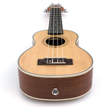 Load image into Gallery viewer, Magma Soprano Ukulele 21 inch Professional FIR AND SAPELI WOOD LINE with filete, strap pins installed and bag (MKS50)