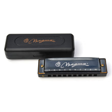 Load image into Gallery viewer, Magma Harmonica, 10 Holes 20 Tones Blues Diatonic Harmonica Key of C For Adults, Beginners, Professional Player and Kids, as Gift, Black (H1004B)