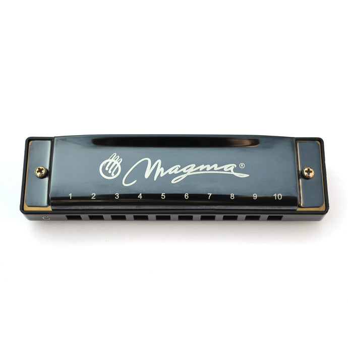 Magma Harmonica, 10 Holes 20 Tones Blues Diatonic Harmonica Key of C For Adults, Beginners, Professional Player and Kids, as Gift, Black (H1004B)