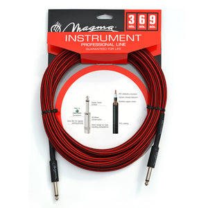 "Magma Instrument Cable, 1/4"" Right Angle Rean By Neutrix, Red and Black Tweed Cloth Jacket, 20 ft. (MC102RN)"