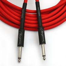 "Load image into Gallery viewer, Magma Instrument Cable, 1/4"" Right Angle Rean By Neutrix, Red Tweed Cloth Jacket, 20 ft. (MC102R)"