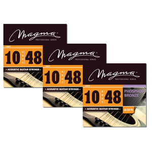 Magma Acoustic Guitar Strings Light Gauge Phosphor Bronze Set, .010 - .048 (GA120PB)