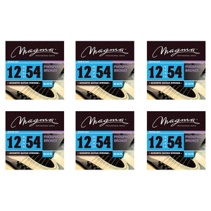 Magma Acoustic Guitar Strings Medium Gauge Phosphor Bronze Set, .012 - .054 (GA140PB)