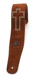 "Magma Leathers 2.52"" Delux Argentinean Chamois Leather Guitar Strap Brown with Cross (07MO02C.)"