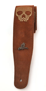 "Magma Leathers 2.52"" Delux Argentinean Chamois Leather Guitar Strap Brown with Skull (07MO02S.)"