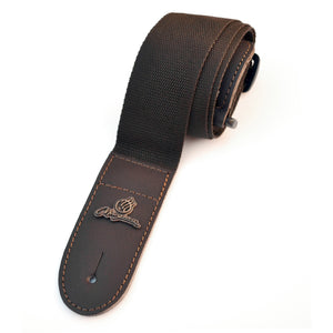 "Magma Leathers  2"" Soft-hand Polypropylene Guitar Strap with Leather Ends Chocolate (07MP08.)"