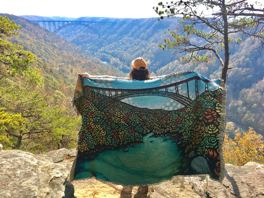 Ancient River In Autumn - Woven Blanket Throws
