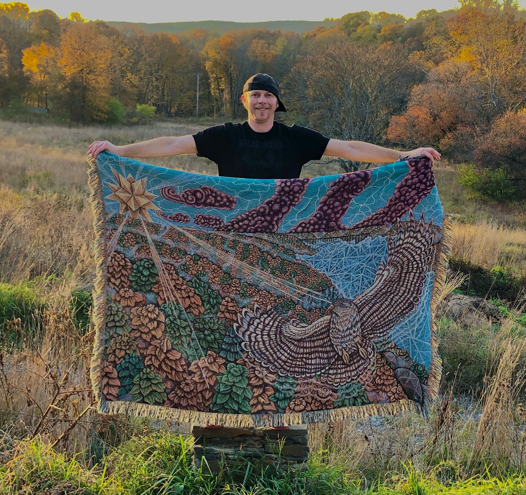 Pre-Order- All Eyes on the Sunrise - Peregrine Falcon Sunrise Bridge - 68 x 50 Inch - Tapestry Woven Blanket Throw
