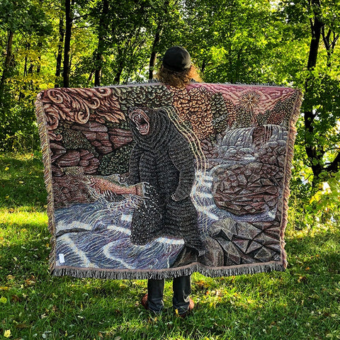 Who's Eating Who?! Bear Trout Waterfall - 68 x 50 Inch - Tapestry Woven Blanket Throw