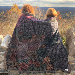 The Keeper of Twilight Owl - 68 x 50 Inch - Tapestry Woven Blanket Throw