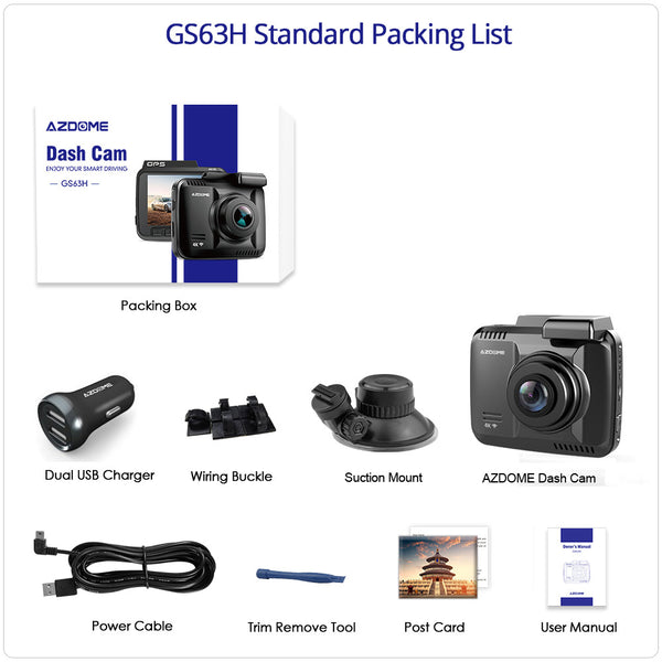 AZDOME Dash Cam GS63H 4K Built in GPS Speed Coordinates WiFi DVR Dual Lens Car Camera Dash Camera Night Vision Dashcam 24H Park 1