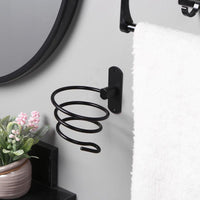 Bathroom Hair Dryer Holder Wall Mounted Rack Space