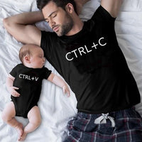 Family Matching Clothes Ctrl+C and Ctrl+V Father Son T Shirt Family Look Dad T-Shirt Baby Bodysuit Family Matching Outfits 1