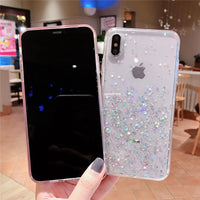 Luxury Bling Glitter Stars Sequins Case For iPhone 11 Pro XS MAX XR X Transparent Silicone Case For iphone 8 7 6 6S Plus Cover