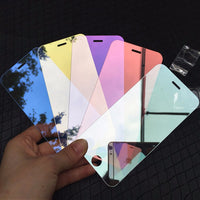 Luxury Colorful Mirror Tempered Glass Film for iPhone X XS XR XS 11 Pro Max 5S SE 6 6S 7 8 Plus Screen Protector Film Guard Case